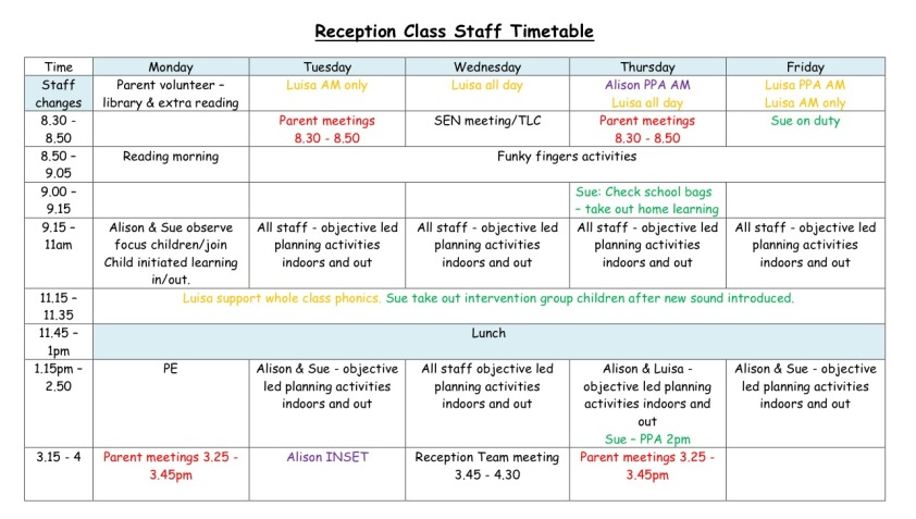 Reception Staff Timetable